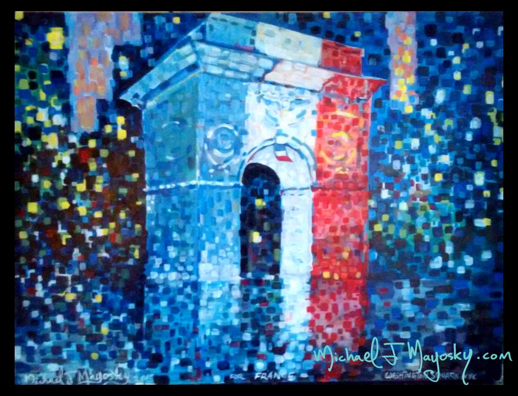 A painting of Washington Square Arch