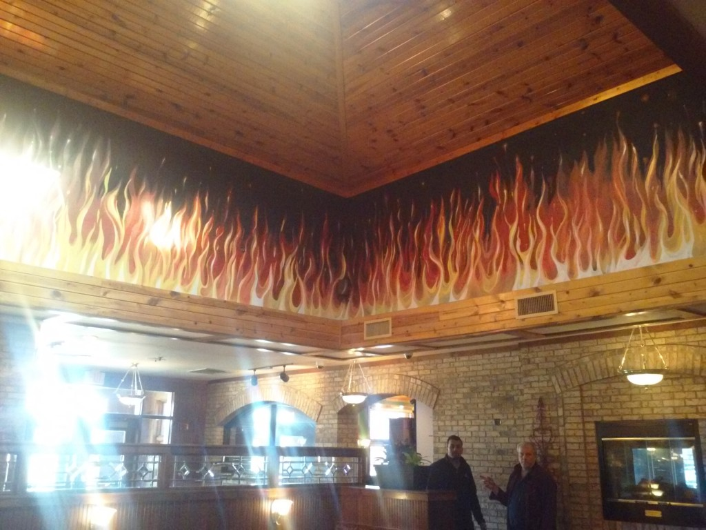 A mural completed in a fancy restaurant.